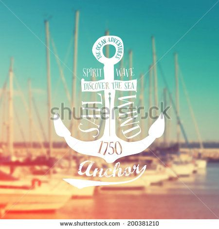 Nautical anchor label on blurry marina background. Vintage Vector illustration - stock vector
