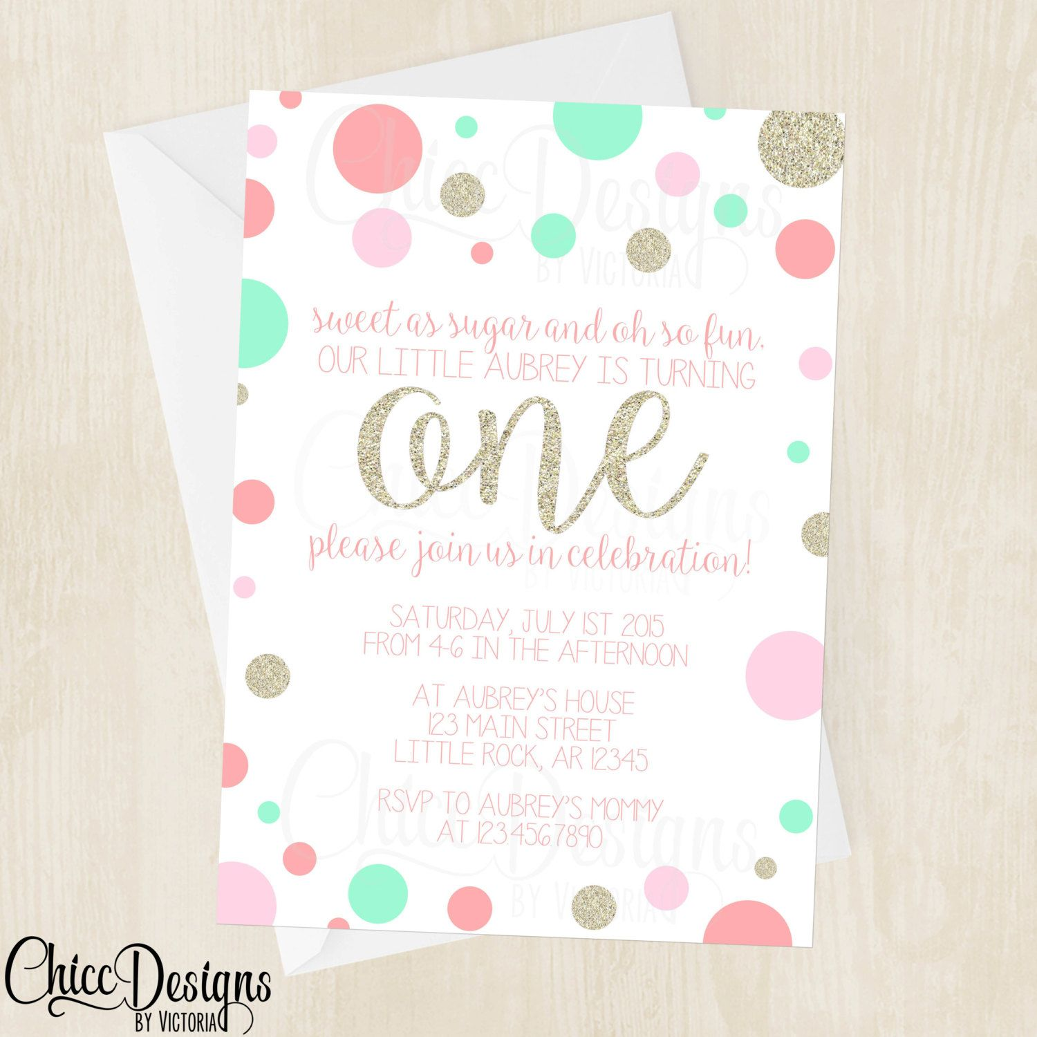 Gold, Pink and Mint Polka Dots - First Birthday Invitation - Digital ...