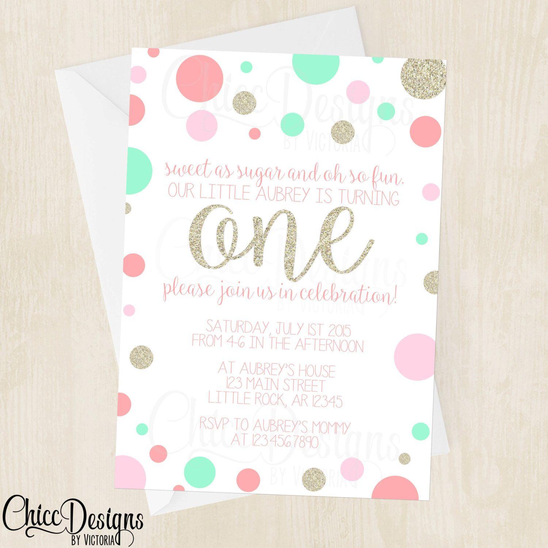 Polka Dot Birthday Invitation - Girl - Rainbow - Printable File ...