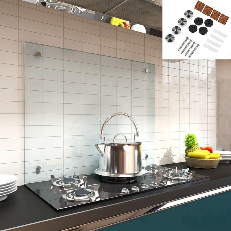 90x60cm Verre Trempe Transparent Cuisine Mur Arriere Retroviseur