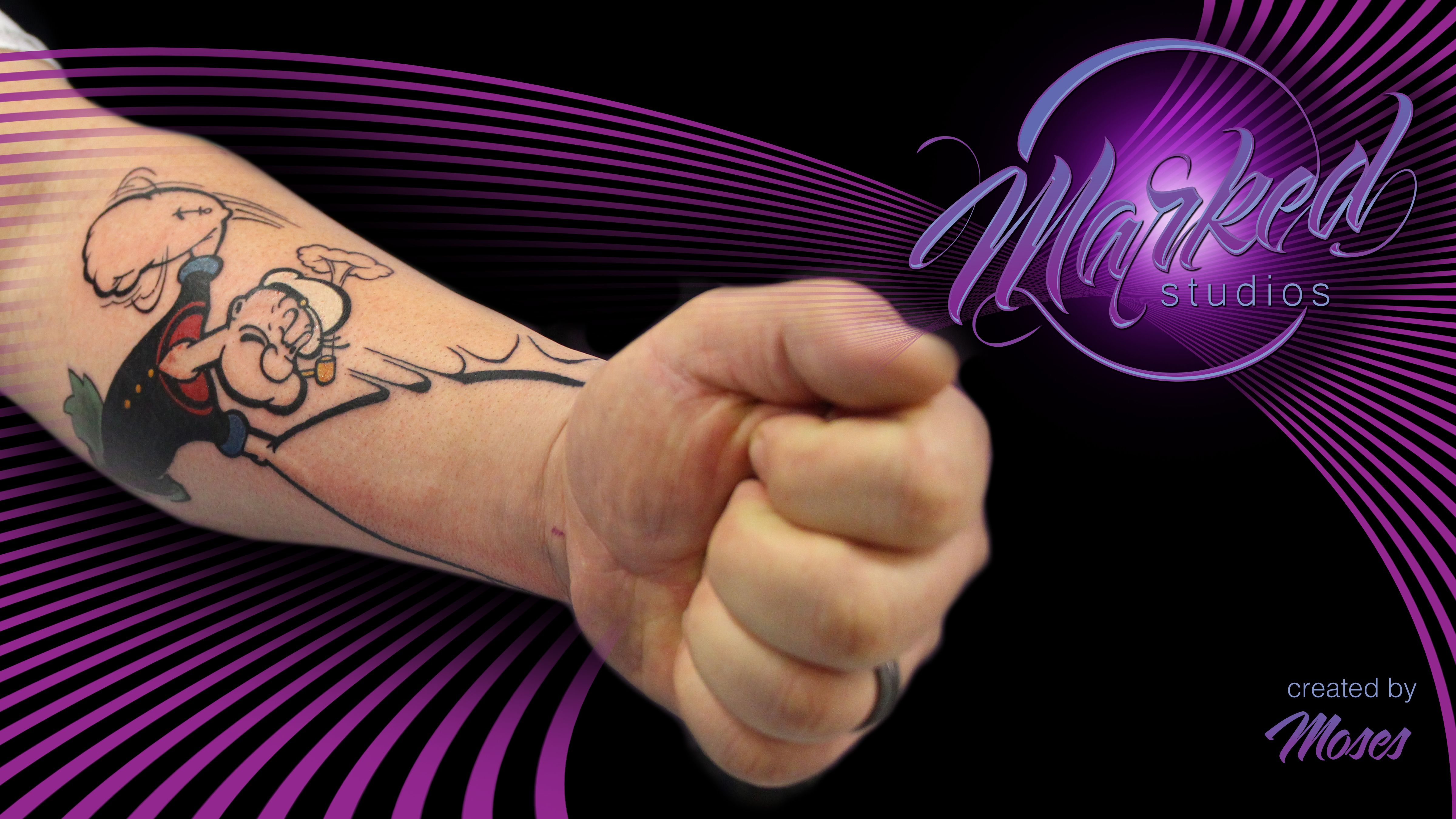 Popeye arm hand mash up forearm punch color tattoo artist for Ink flow tattoo