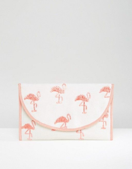 ASOS BEACH Embroidered Flamingo Clutch Bag