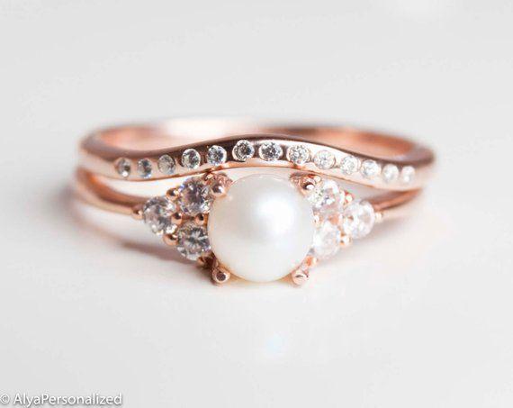 Rose Gold Wedding Ring Set Engagement Ring Set Vintage Wedding