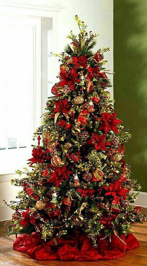 Arboles de navidad rojo y dorado decorados 2018 arboles - Decorar arbol de navidad blanco ...
