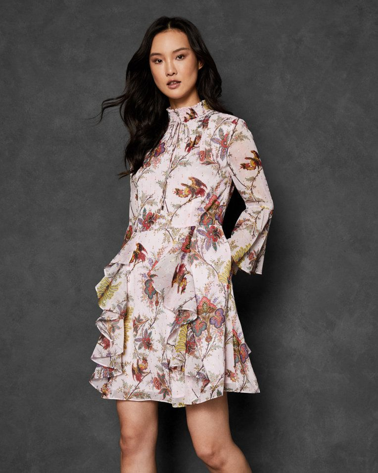 Arabesque High Neck Ruffle Dress Pink Dresses Ted Baker Poplin Style Maxi Dress With Sleeves Embroidered Denim Dress Dresses