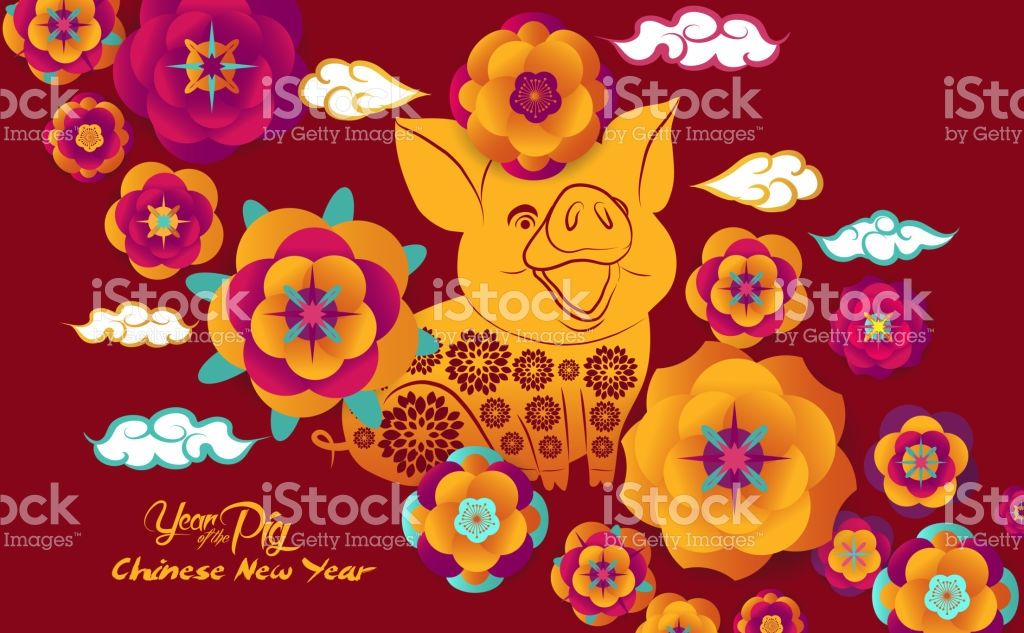 Happy Chinese New Year 2019 Paper Art Flowers And Pig Design In Red
