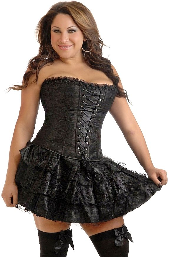 Plus Size Black Lace Corset Dress | Black corset dress, Plus ...