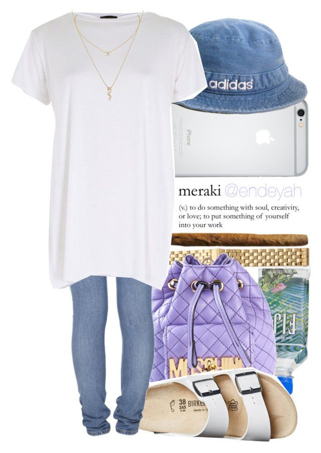 """""""·I'm on a mission boo, I'm whipping through this,tryna get to you·"""" by endeyah ❤ liked on Polyvore featuring adidas, Michele, Moschino, Birkenstock, Nudie Jeans Co., River Island and Yves Saint Laurent"""