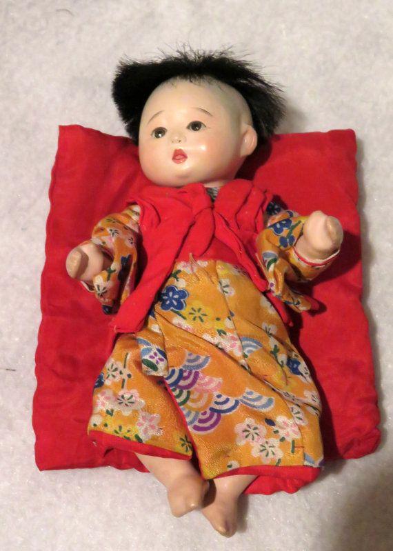Vintage Ichimatsu Gofun Baby Doll Early By