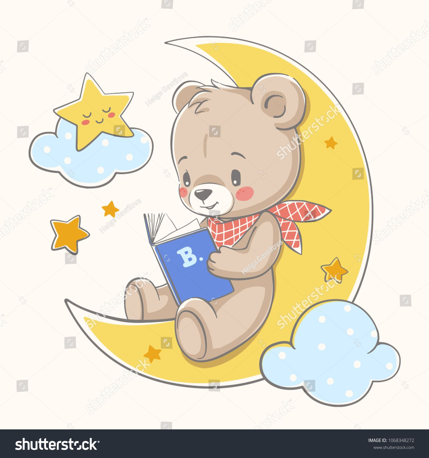 Cute Bear Sits On The Moon And Reads A Book Cartoon Hand Drawn