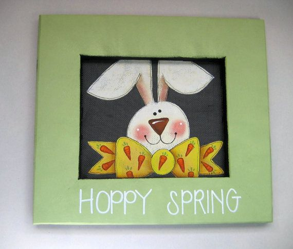 Hoppy Spring Sign Bunny with Bow Tie with by barbsheartstrokes