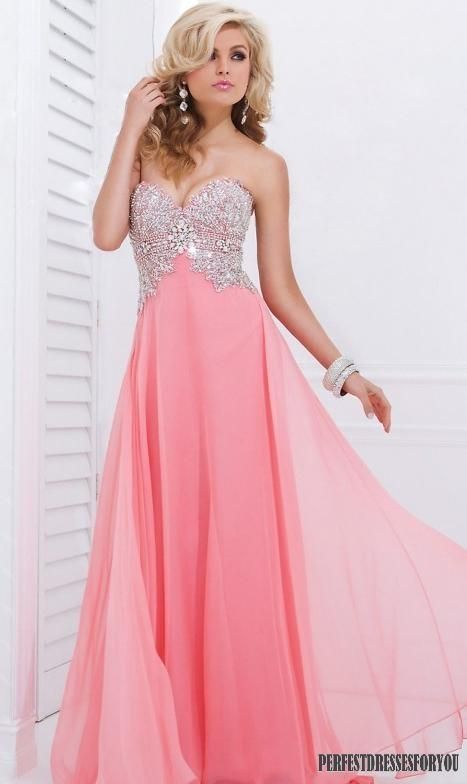 Long pink prom dress dress pink pretty elegant beads prom sparkle ...