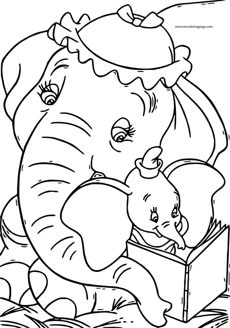 Dumbo Jumbo Reading Book Coloring Pages Elephant Coloring Page Disney Coloring Pages Free Disney Coloring Pages