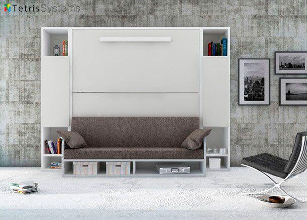 Litera Versatile 90 X 190 Con Sofá Y Librerías Laterales Simétricas