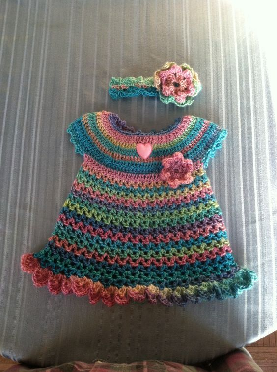 Red Heart Little Sweetie Dress and Headband - free pattern available ...