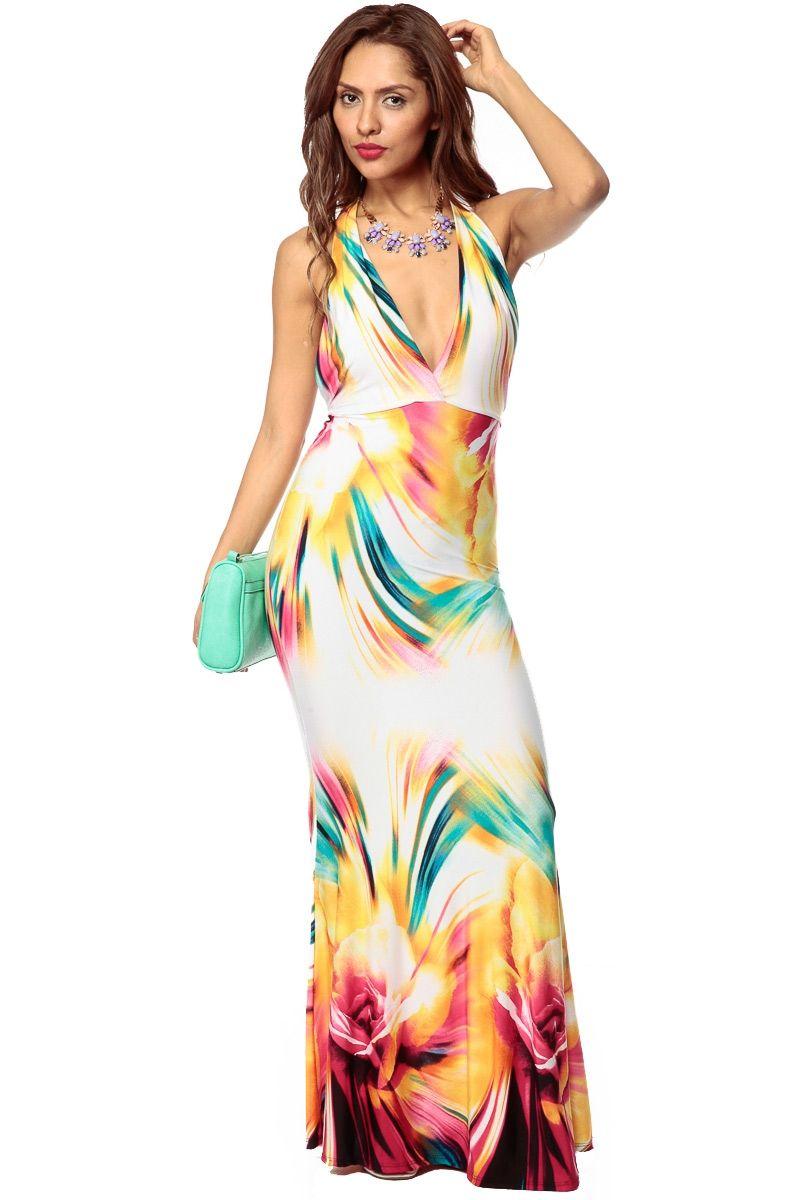 Multicolor streaked in color halter mermaid maxi dress cicihot