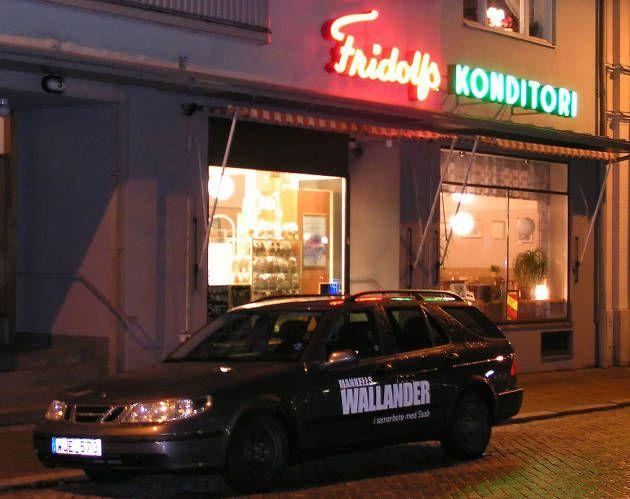 Romanfigur. Her ses Kurt Wallanders yndlingscafé Fridolfs Konditori i hjembyen Ystad. Foto: Fredrik Ekblad