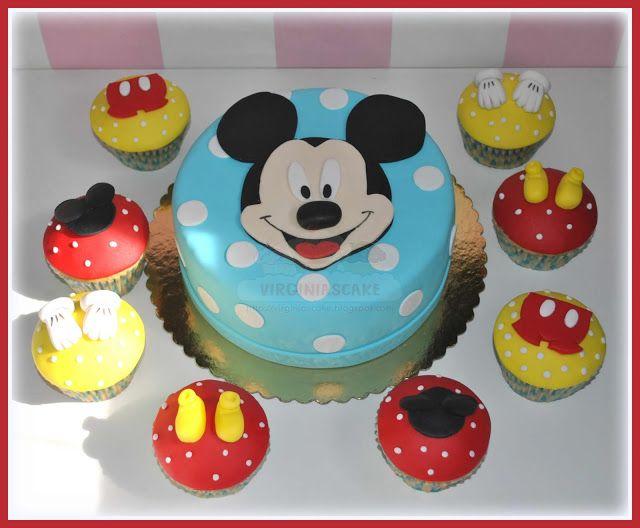 Virginias Cake: Tarta Puzzle Mickey + Cupcake
