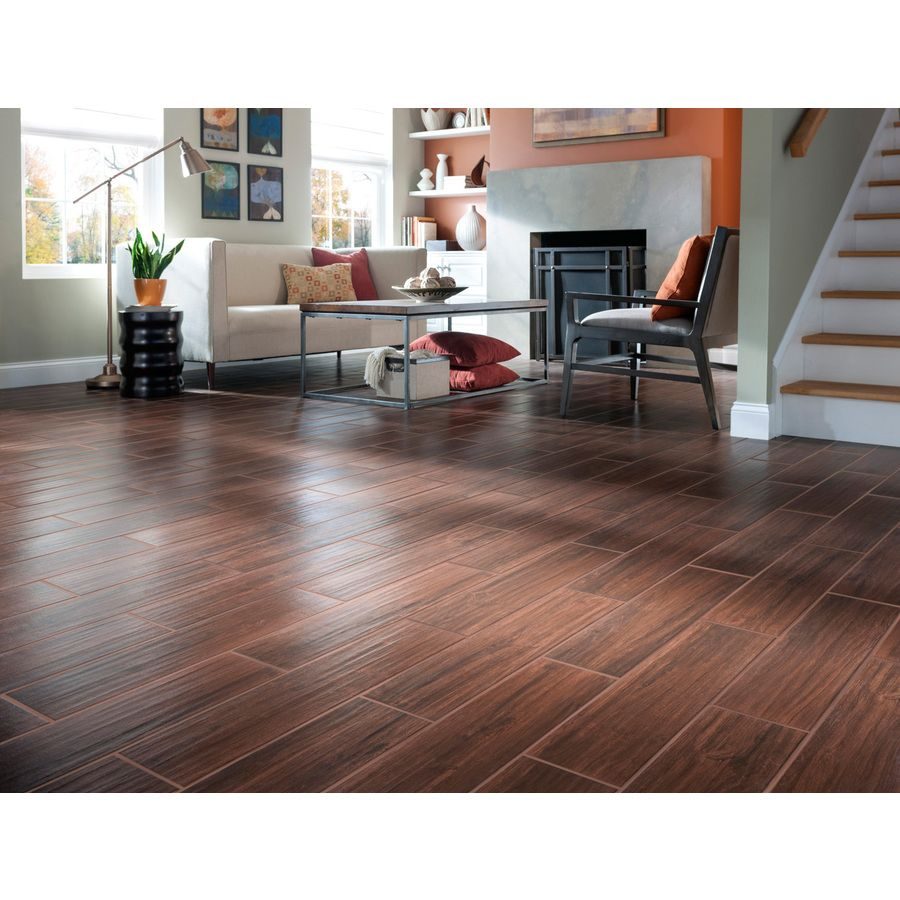 Style Selections Serso Black Walnut Glazed Porcelain Floor Tile Common 6 In X 24 Actual 5 75 23 At Lowes