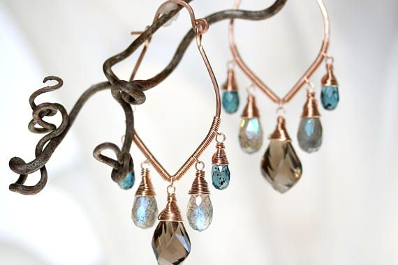 Rose Gold Wire Wrapped Earrings Gemstone Chandeliers Faceted