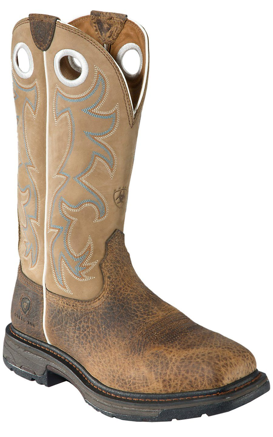 Ariat Men S Workhog Earth Brown And Tall Beige Square Steel Toe Work Boot Boots Work Boots Steel Toe Work Boots