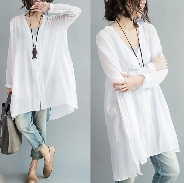 Womens Cotton Linen Shirt Tops V Neck Long Sleeve Loose Baggy Blouse