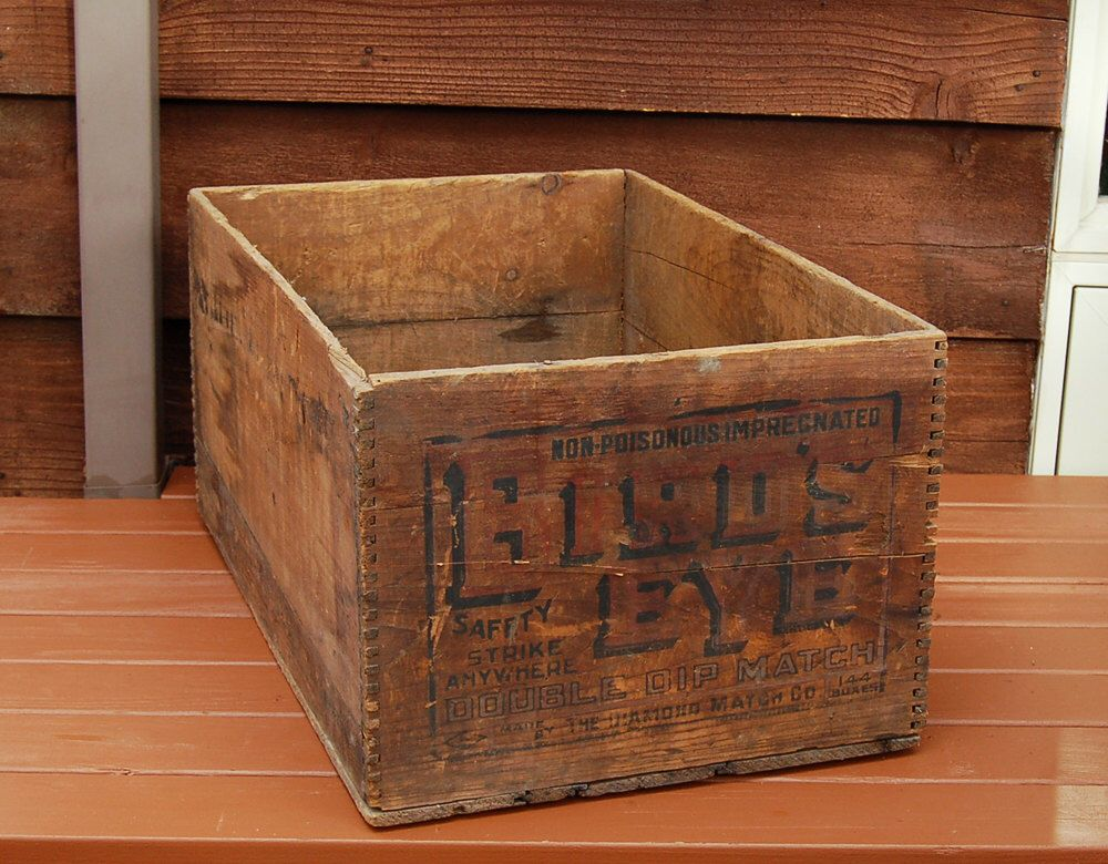 antique wood box vintage wood crate large wooden box case crate for birdu0027s eye safety matches the diamond match co