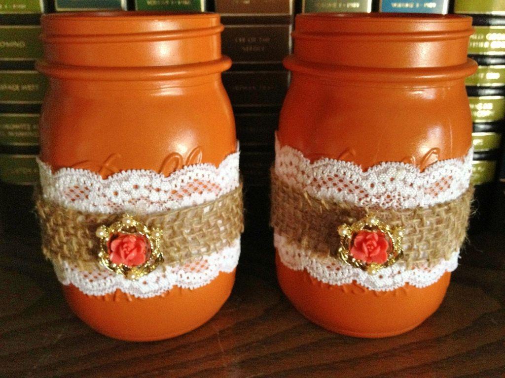 Fall Themed Mason Jars Decorated Mason Jars Lace by 2RendyVintage, $24.00