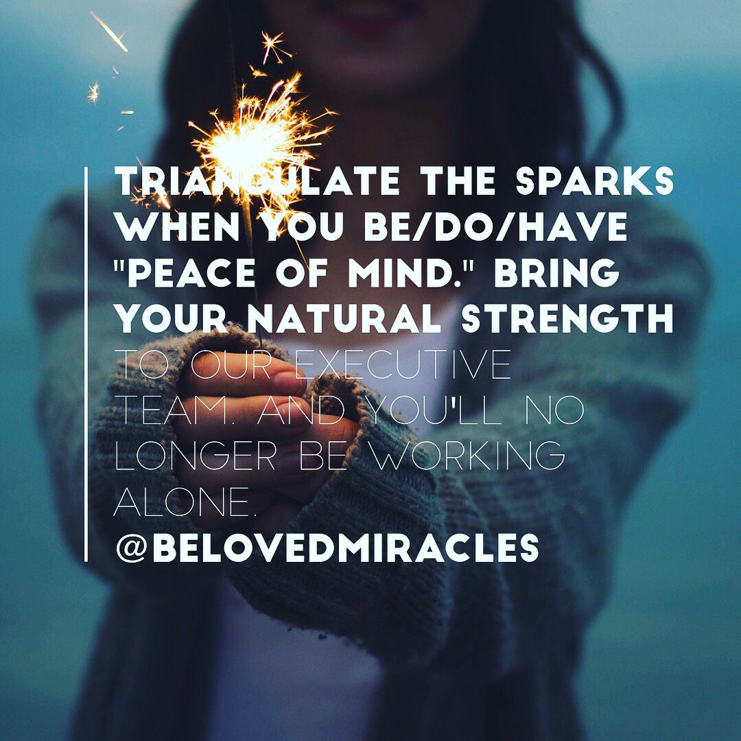 "Triangulate the Sparks when You BE/DO/HAVE ""Peace of Mind."" Bring Your Natural Strength to Our Executive Team.  And You'll no longer be working alone."