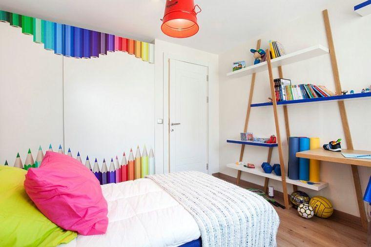 diseño estantes decorativos pared colores Habitación para niños - diseo de habitaciones para nios