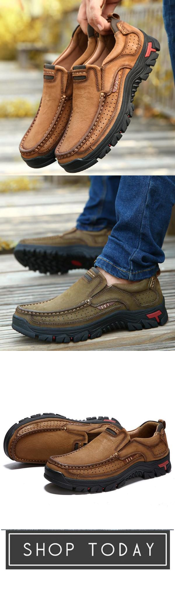 bfdf619c8265 Men Casual Outdoor Slip-on Genuine Leather Oxfords in 2019