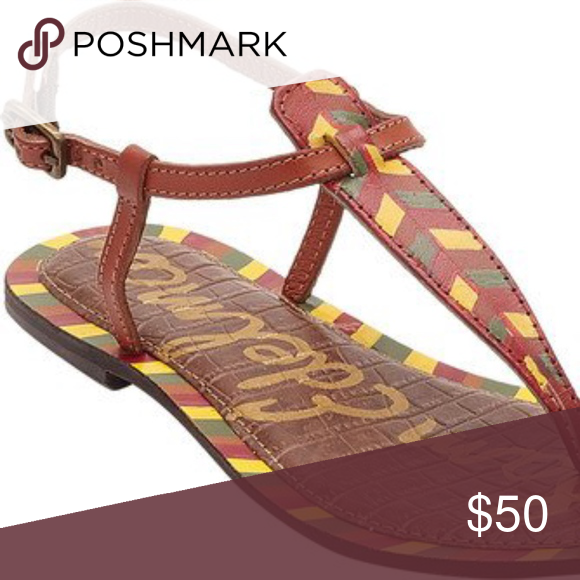 1ca41404ee366e Sam Edelman Gigi Sandals NWOT Size  7.5 Color  Saddle Painted Leather Hand  Painted Design on upper strap and bordering the footbed.