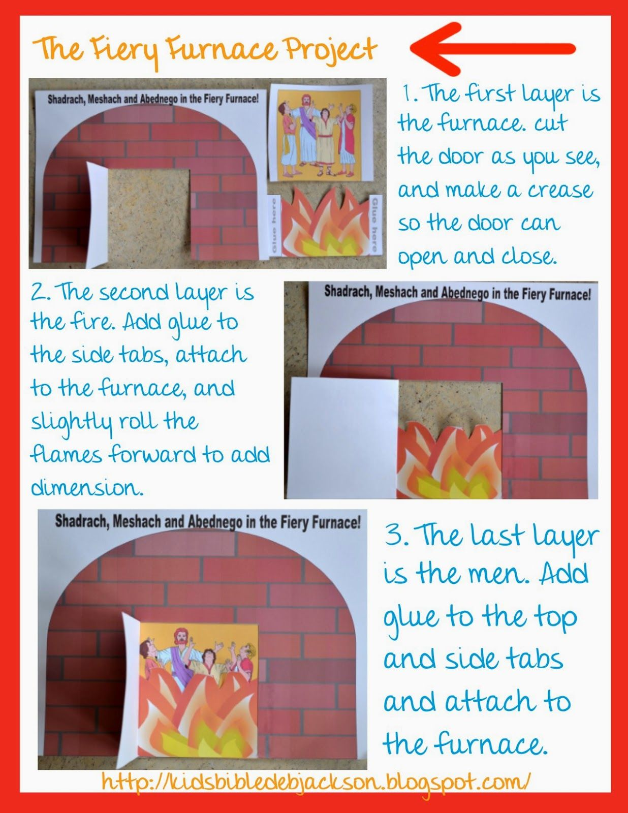 Fiery Furnace Craft Template We made this project for this | Bible ...