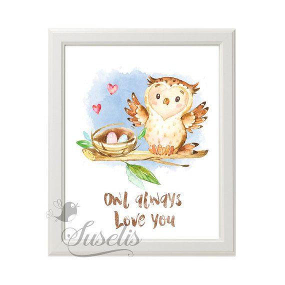 Owl always Love you Woodland Owl printable Handpainted by Suselis