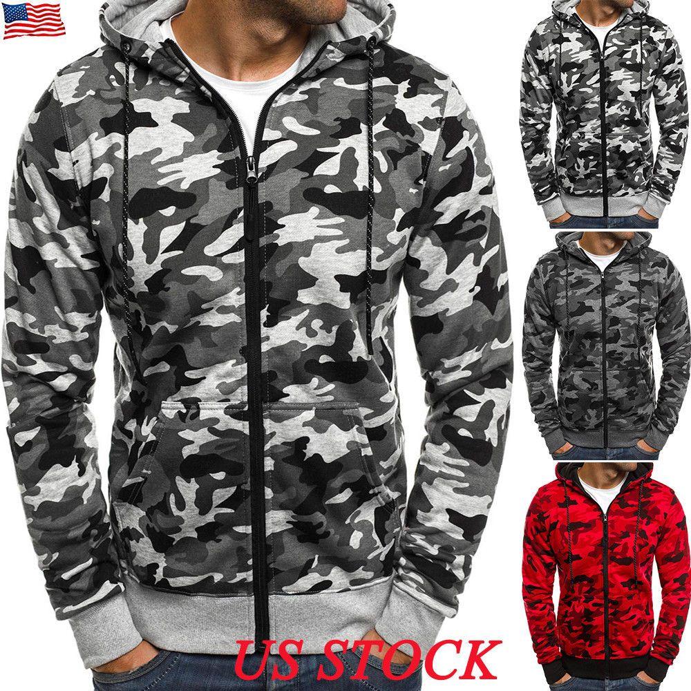 Mens hooded flannel jacket    US Mens Hoodies Camo Zip Up Hooded Jacket Winter Sweatshirt