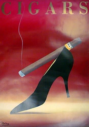 """French Posters, """"Cigars"""" 56x40 inches, Vintage Lithograph. $950 - Southwest Gallery: Not Just Southwest Art."""
