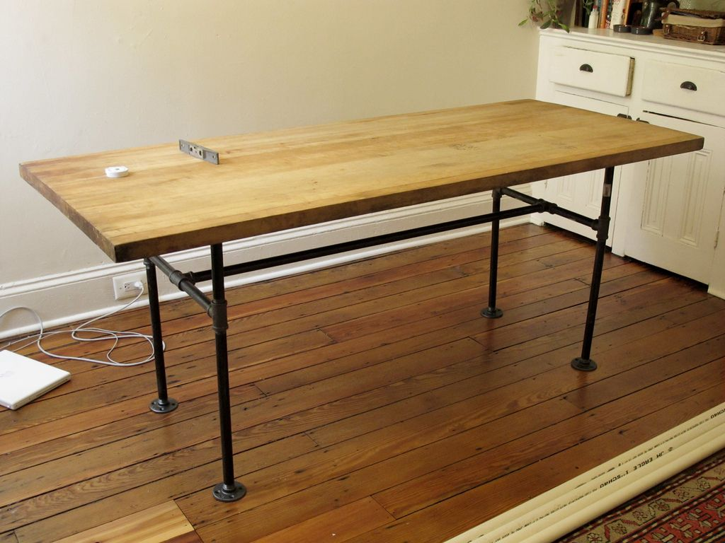 Superior 3/4 View Color, Salvaged Butcher Block Table | Flickr   Photo Sharing!