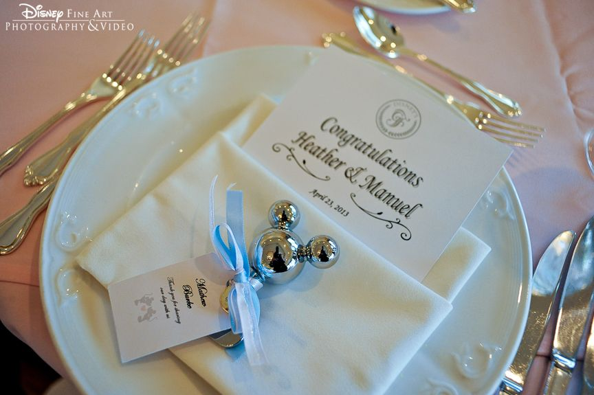 Classic Place Setting With A Sweet Mickey Mouse Bottle Opener Favor #Disney  #wedding #