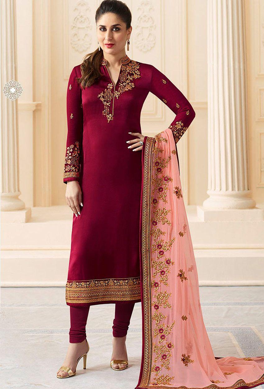 ea88c5301b Kareena Kapoor In Designer Maroon Straight Salwar Suit #partywear #stylish # designer #partywearsalwarkameez #partywearsalwarsuit #onlinesalwarkameez ...