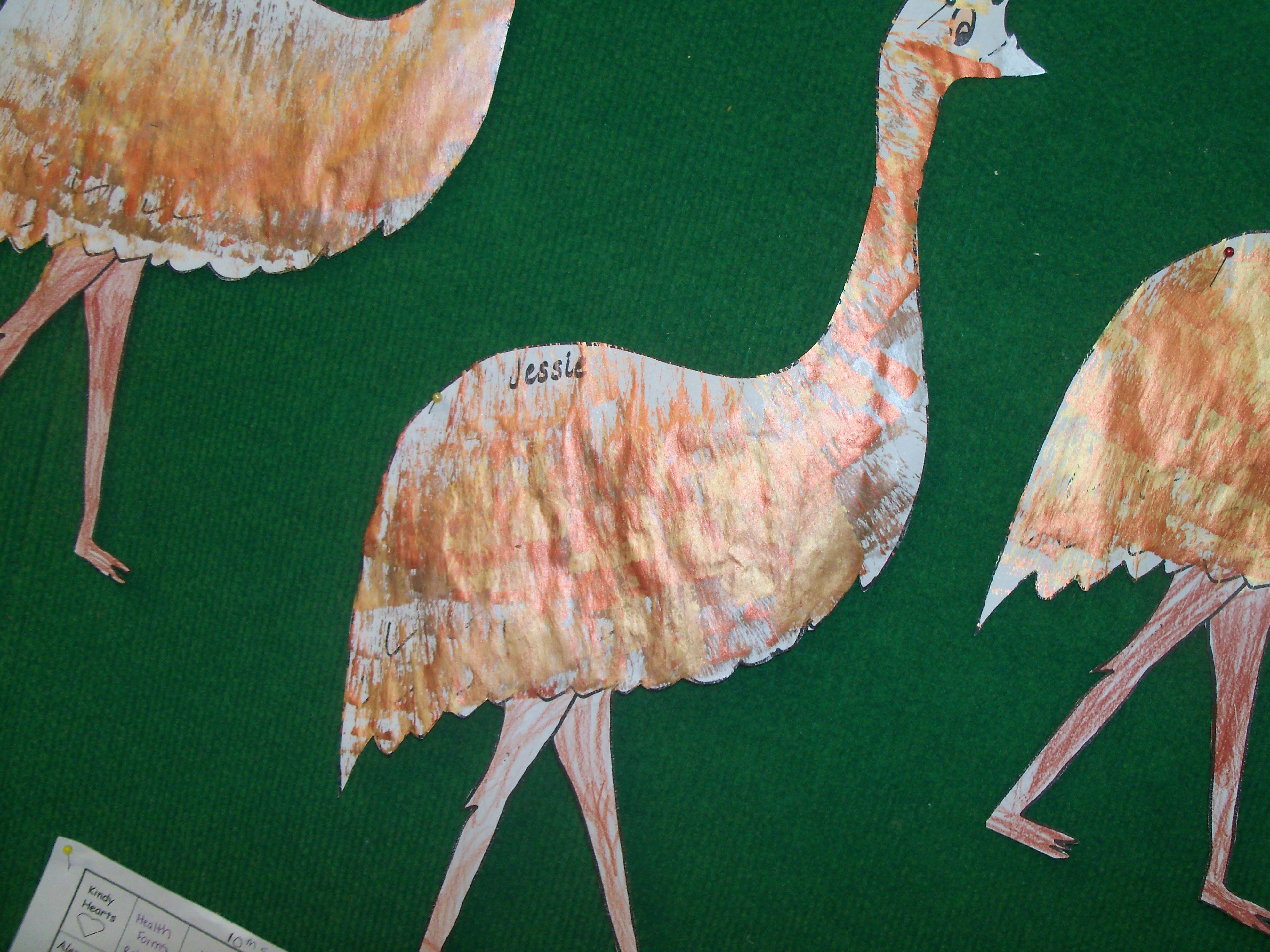 Draw A Giant Emu Then Use Fan Brushes With Bronze Gold border=