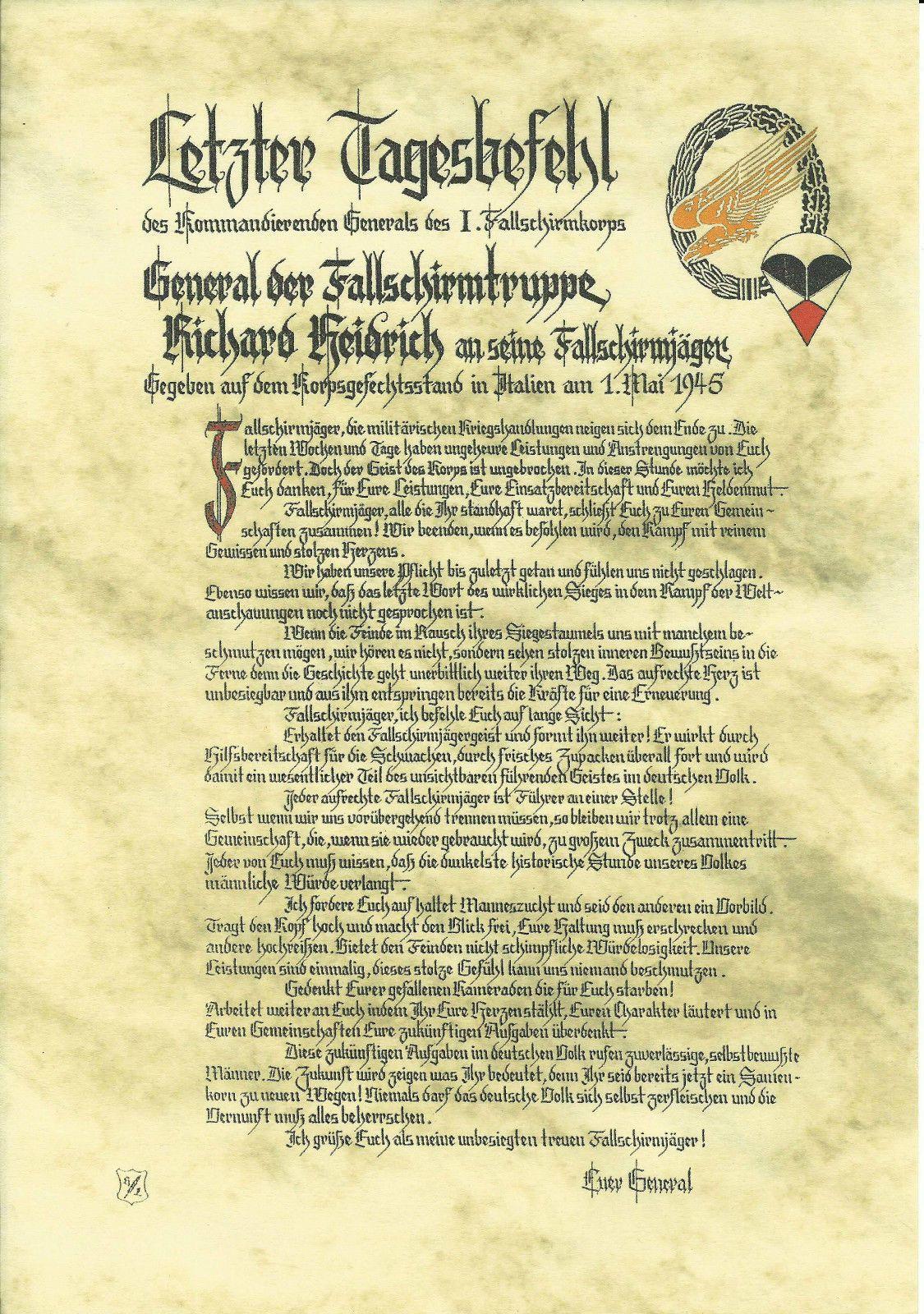 Letzter Tagesbefehl General Fallschirmjager Richard Heidrich Mai 45 Kopie De Picclick Com Fallschirm Fallschirmjager