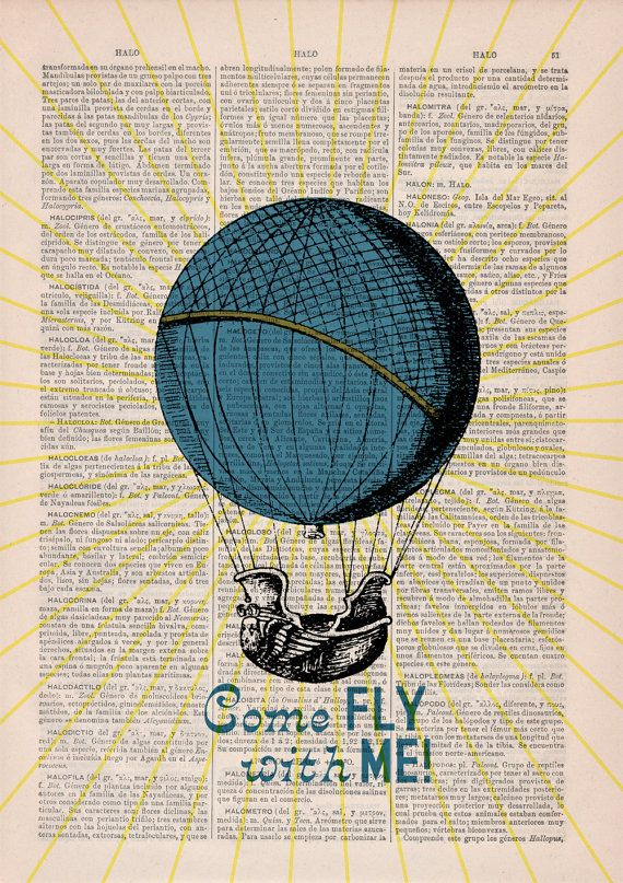Come fly with me love Wall art poster print Hot air by PRRINT