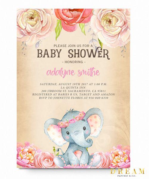 Elephant baby shower invitation pink floral elephant vintage pink elephant baby shower invitation watercolor flowers vintage filmwisefo