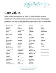 personal values worksheets