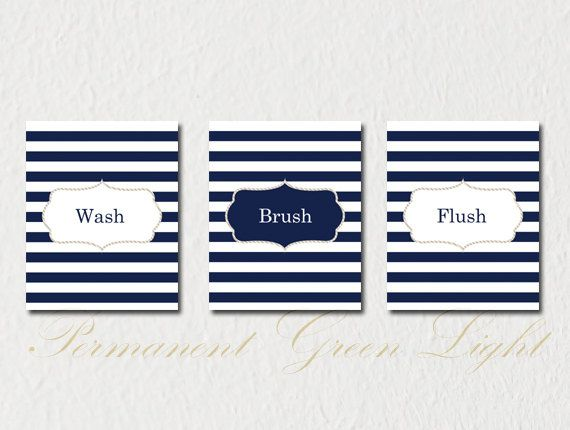 Nautical Bathroom, Nautical Decor, Nautical Bathroom Decor , Wash Brush  Flush, Set Of