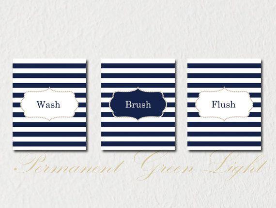 Nautical Bathroom, Nautical Decor, Nautical Bathroom Decor , Wash Brush  Flush, Set Of THREE Prints Customizable Prints