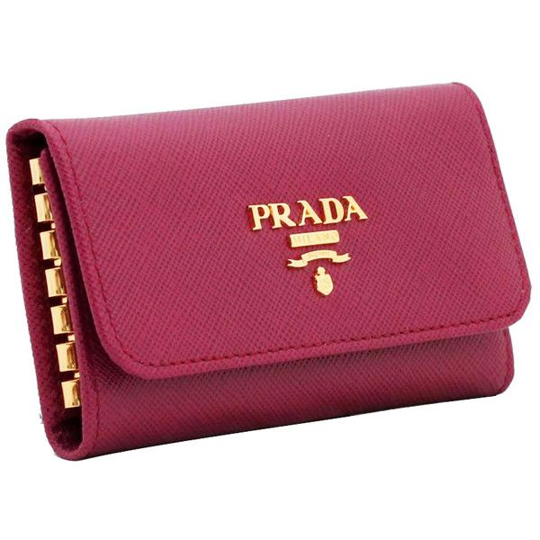 Prada 1M0222 key holder key case | Pink Orchard - Luxury Brands Online ($48) ❤ liked on Polyvore featuring bags and wallets