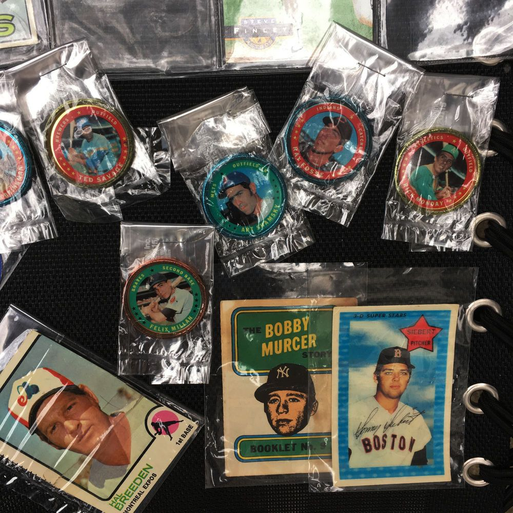 Baseball cards and coins collection lot of 30 1960s thru