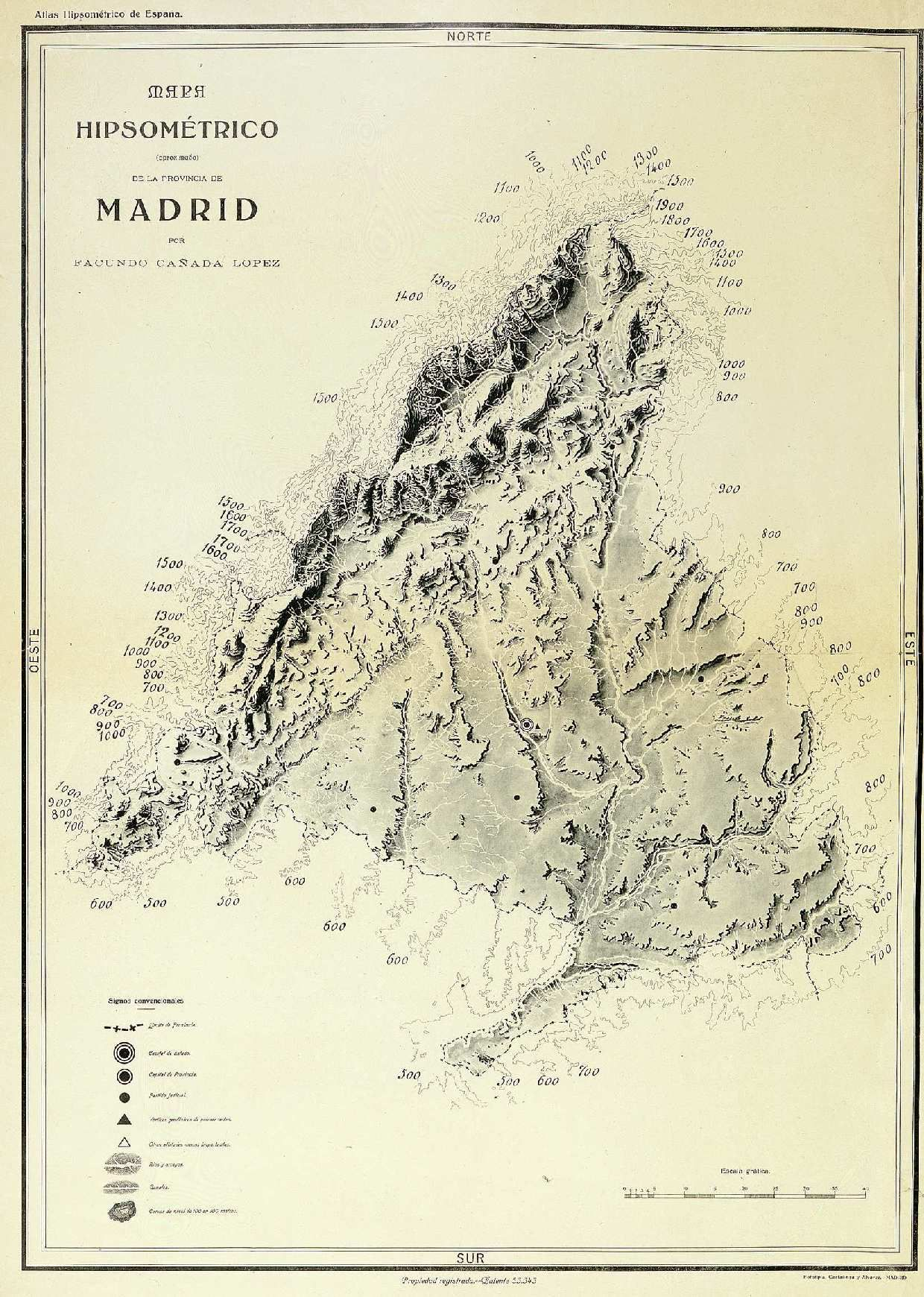 Mapa Hipsometrico Aproximado De La Provincia De Madrid Mapas Cartografico Tecnicas De Dibujo