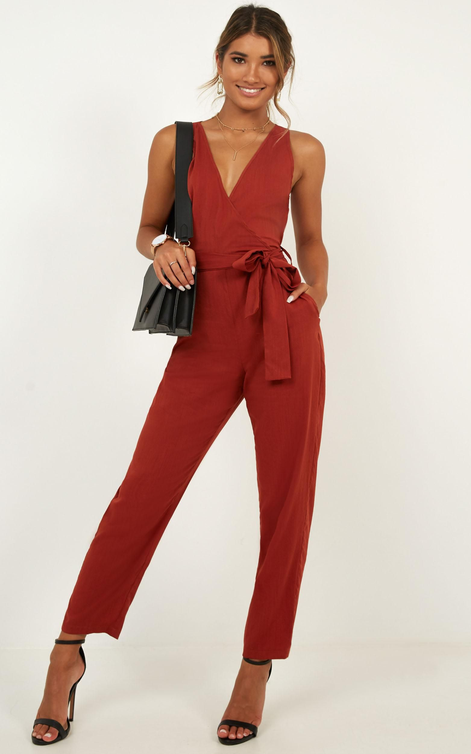 469c57a7940 Leadership Jumpsuit In Rust linen look Produced By SHOWPO